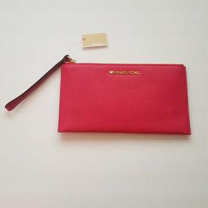 MK Michael Kors Pink Large Zip Clutch Wristlet New